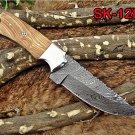 "DAMASCUS STEEL 9"" LONG FULL TANG CLIP POINT BLADE SKINING KNIFE W/RASS BOLSTER"