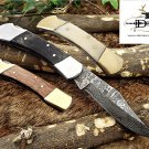 "7.5"" long folding knife hand forged Damascus steel wood scale Cow Leather sheath"