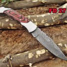 "8"" Hand forged Damascus folding pocket knife Steel Bolster, Back lock, sheath"