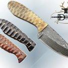 "7.5"" DAMASCUS STEEL FULL TANG BLADE POCKET KNIFE, JIGGED SCALE, LEATHER SHEATH"