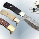 "Damascus steel skinning knife with Brass bolster, 9"" full tang blade, Cow sheath"