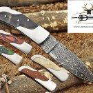 "Folding compact knife 6.5"" Hand forged Damascus Steel , Back lock, Cow sheath"