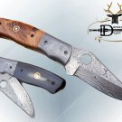 "7.5"" folding knife Damascus steel finger hole blade liner lock Wood & Horn scale"