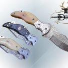 "7.5"" folding Damascus steel knife, liner lock, thumb knob, Cow Leather sheath"