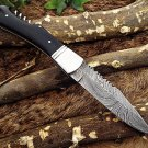 "Folding Knife with wine opener, Damascus steel 8.5 "" long , Bull horn scale"