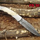 "Damascus steel 8"" long Folding Knife, Camel bone with Steel bolster scale sheath"