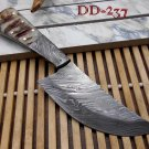 """7"""" long Damascus steel Ram horn scale with bolster custom made compact skinning"""