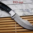 Damascus Steel Custom Made Hunting Knife 9 Inches Long Full Tang Leather sheath