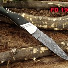 "Damascus steel 8.5 "" long Folding Knife with wine opener, Bull horn s"