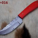Hand Forged Damascus Steel 9 Inches long full tang skinner Knife W/red scale