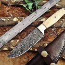 Damascus Steel 9 Inches full tang blade skinner knife, camel bone brass, sheath