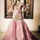 Ethnic Designer Pink custom Ball dress hip hugging Net shirt and a puffy skirt