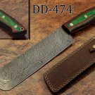 "12.5"" hand forged Damascus steel chef knife, 2 tone green scale, Leather sheath"