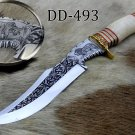 "15"" Hand engraved graphics & Damascus steel custom hunting knife, Cow sheath"