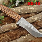 "2 tone sturl Skinning knife 9.5"" Hand Forged Damascus Full tang blade sheath"