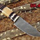 "8"" HAND FORGED DAMASCUS STEEL FULL TANG BLADE GUT HOOK SKINNING POCKET KNIFE"
