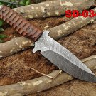 "10"" DAMASCUS STEEL FULL TANG SKINNING KNIFE, JIGGED WOOD SCALE, COW SHEATH"