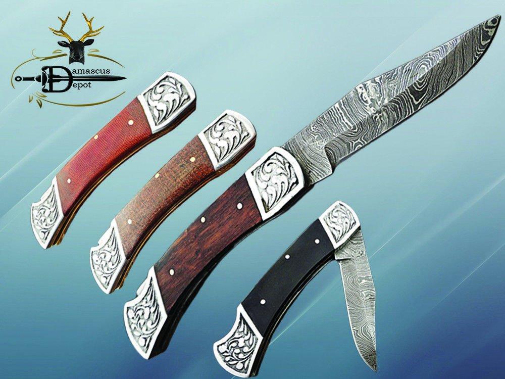 "9"" Damascus steel folding knife W/back lock 4 colors Hand engraved Steel bolster"