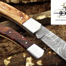"7.5"" Damascus steel folding knife W/Back lock, wood scale hand forged Cow sheath"