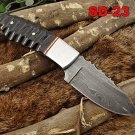 """7"""" DAMASCUS STEEL FULL TANG COMPACT KNIFE, JIGGED HORN SCALE, LEATHER SHEATH"""
