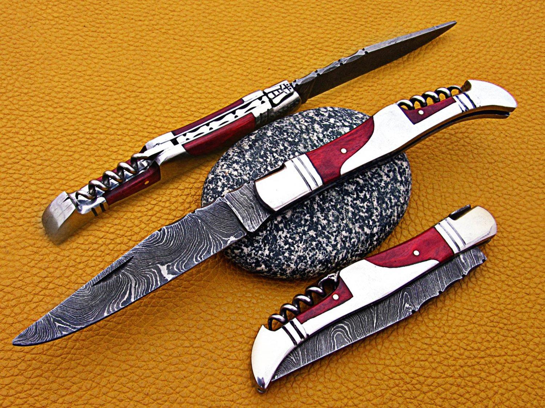 "8"" hand forged Damascus steel folding pocket knife W/steel trim, Leather sheath"
