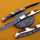 "8"" hand forged Damascus steel folding pocket knife W/wine opener, Leather sheath"
