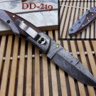 "8"" Hand forged Damascus steel folding knife with Pocket clip & Damascus Bolster"