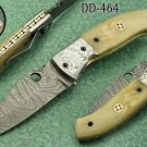 "8"" folding knife Damascus steel Engraved bird, liner lock, Horn & Bone scale"