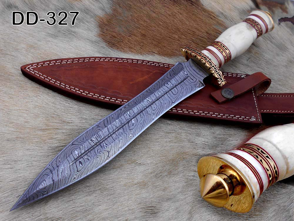 "15"" Damascus steel hunting Dagger knife, Engraved brass scale, Cow sheath"