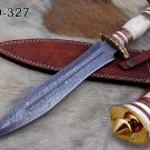 """15"""" Damascus steel hunting Dagger knife, Engraved brass scale, Cow sheath"""