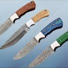 "9.5"" long Damascus steel skinning knife, full tang rain drop blade, Cow sheath"