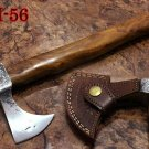 """14"""" long hand hammered carbon steel voyager Axe, Wood scale, Leather sheath"""