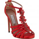 NEW TABITHA SIMMONS Size 7 JEWEL-EMBELLISHED T-STRAP RED SANDALS $1295