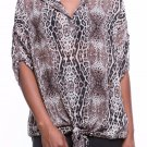 NEW Women's Button Accent Sleeve Tied Hem Closure Leopard Print Top Sizes S M L