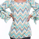 NEW Si Avance Women's Lime Zigzag Ruffled On/Off Shoulder Blouse/Top S/M/L