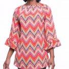 NEW Si Avance Women's Orange Zigzag Ruffled On/Off Shoulder Blouse/Top S/M/L