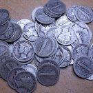 1 ROLL 1928 90% SILVER MERCURY DIMES - $5 FACE VALUE - 50 COINS