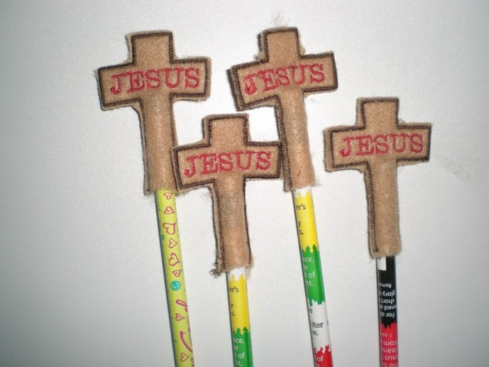 Cross Pencil Toppers Machine Embroidery Design