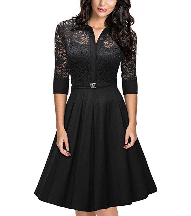 Size L Black Lace Vintage Half Sleeve Women Swing Dress