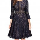 Size L Blue Lace Women Vintage Retro Dress