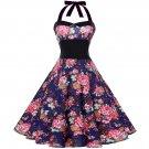 Size XXL Blue Floral Printed Vintage 1950s Women Dress