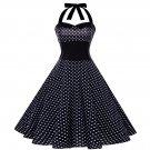 Size M Black Polka Dots Printed Vintage 1950s Women Dress