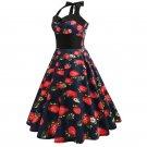 Size XXL Vintage 1950s Women Strawberry Printed Dress