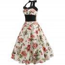 Size L Vintage 1950s Women Printed Dress