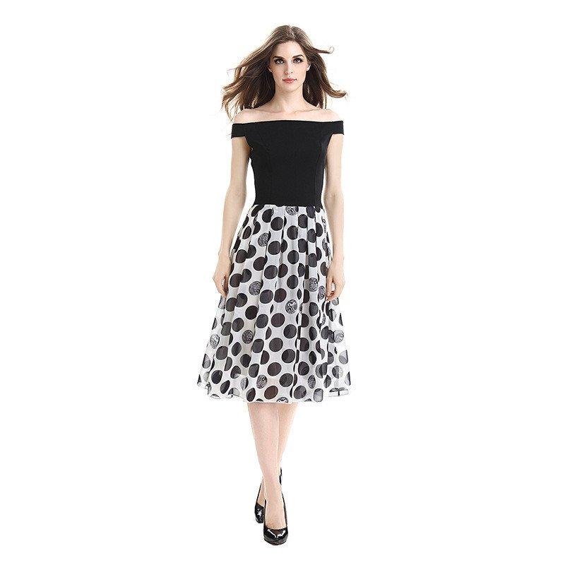 Size XXXL Black Polka Dots Pencil Dress