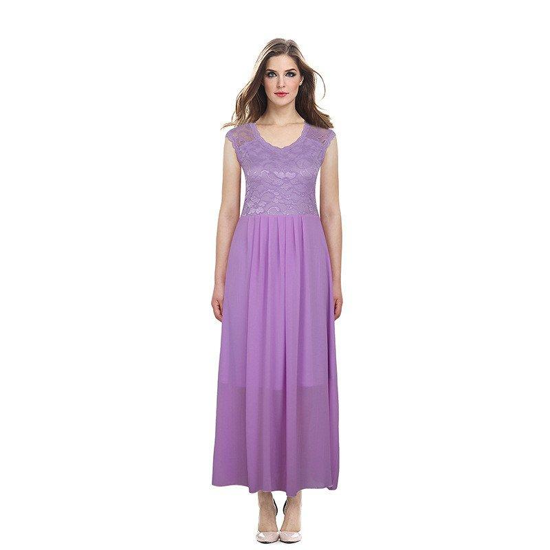 Size M Purple Women Long Lace Chiffon Dress