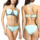 Size XL Blue Printed Women Bikini Swimwear