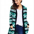 Size L Winter large size sweater printed long-sleeved loose women's sweater Christmas jacket