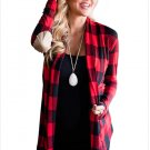 Size L Red Large size womens jacket check long-sleeved cardigan women's coat