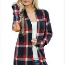 Size M Black Large size womens jacket check long-sleeved cardigan women's coat